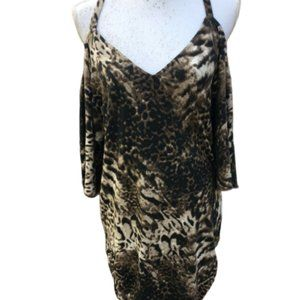 Boston Proper Animal Print Cold Shoulder Dress M